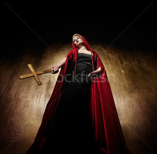 Lady with a golden cross Stock photo © Nejron