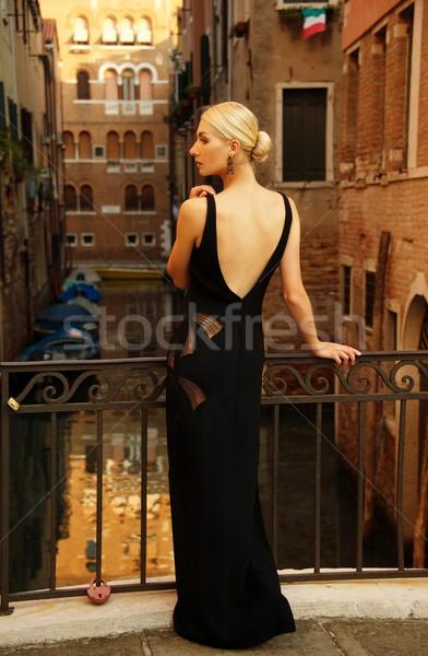 Nő fekete ruha híd víz város hát Stock fotó © Nejron