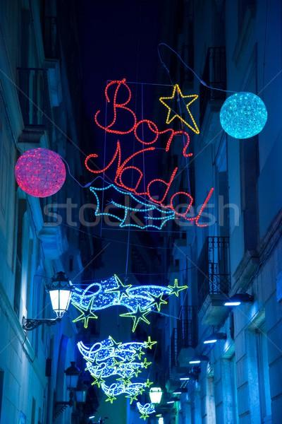Christmas lights on Barcelona streets Stock photo © Nejron