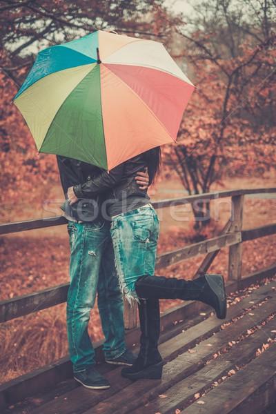 Casal guarda-chuva ao ar livre belo chuvoso Foto stock © Nejron