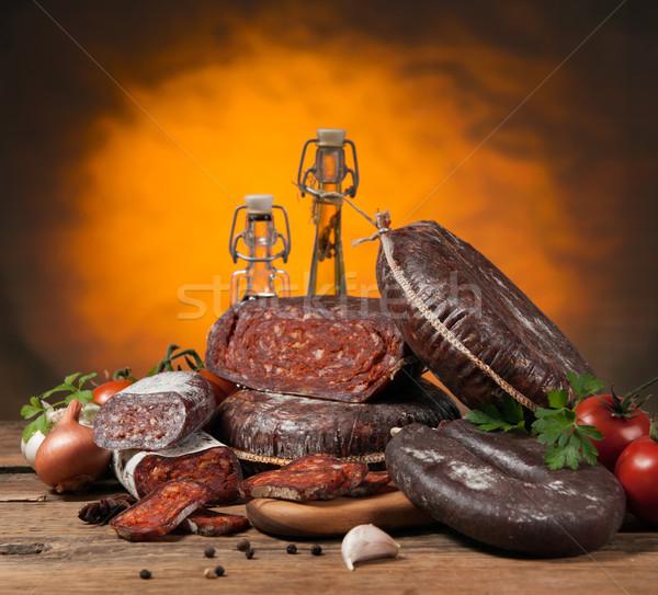 Kiełbasy wybór kiełbasa produktów warzyw Zdjęcia stock © Neliana