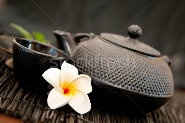 Té verde negro hierro Asia tetera Foto stock © Neliana