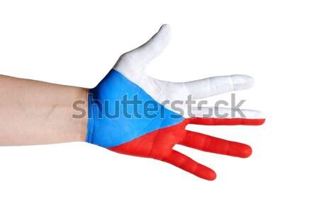 Europeo apretón de manos mano manos bandera bienvenida Foto stock © Nelosa