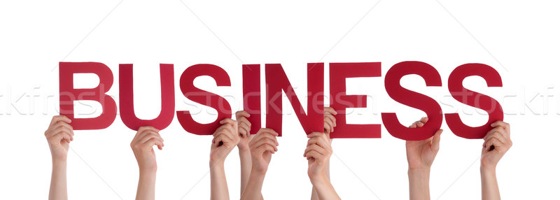 Stock photo: Many People Hands Holding Red Straight Word Business