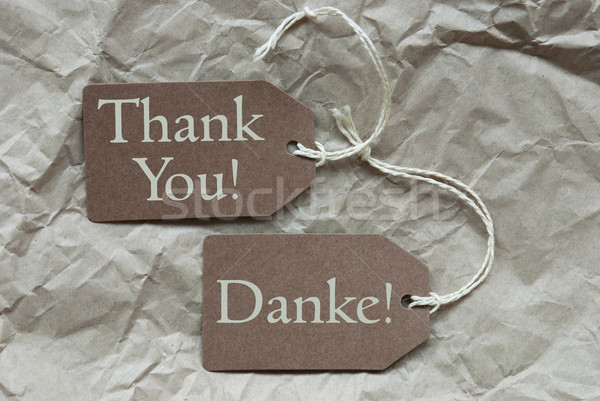 Two Beige Labels Danke Means Thank You Paper Background Stock photo © Nelosa