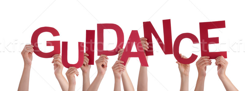 Many People Hands Holding Red Word Guidance Stock photo © Nelosa