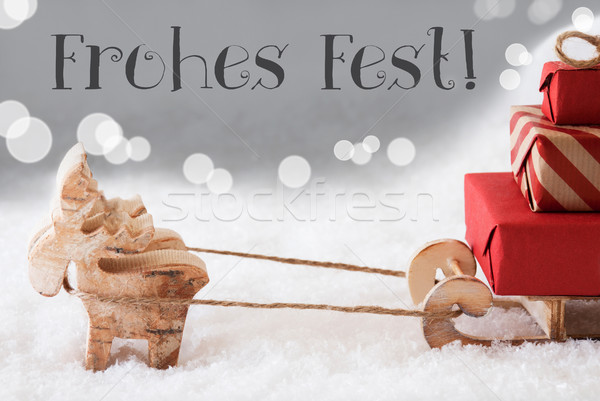 Reindeer With Sled, Silver Background, Frohes Fest Means Merry Christmas Stock photo © Nelosa