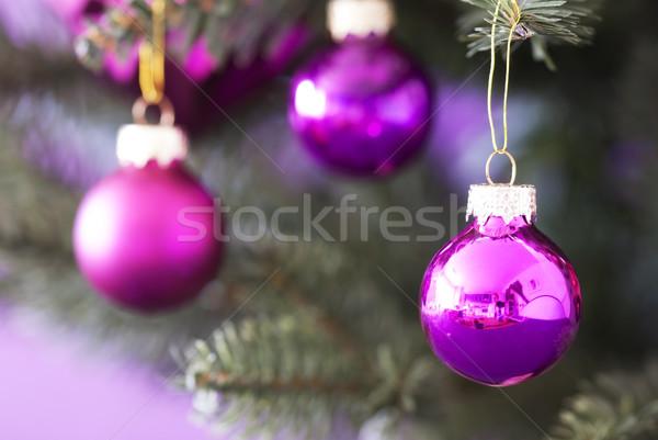 Blurry Christmas Tree With Rose Quartz Balls Stock photo © Nelosa