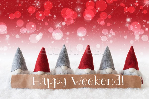 Gnomes, Red Background, Bokeh, Stars, Text Happy Weekend Stock photo © Nelosa