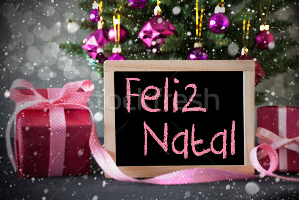 Tree With Gifts, Snowflakes, Bokeh, Feliz Natal Means Merry Chri Stock photo © Nelosa
