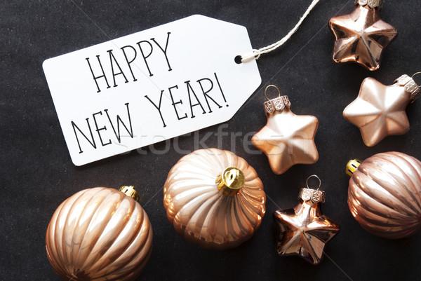 Brąz choinka tekst szczęśliwego nowego roku etykiety Zdjęcia stock © Nelosa