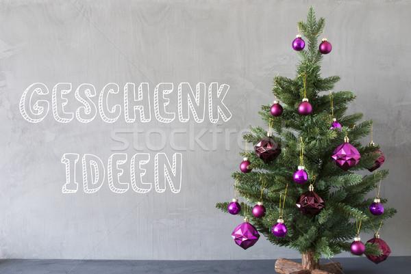 Stock foto: Weihnachtsbaum · Zement · Wand · Geschenk · Ideen · Text