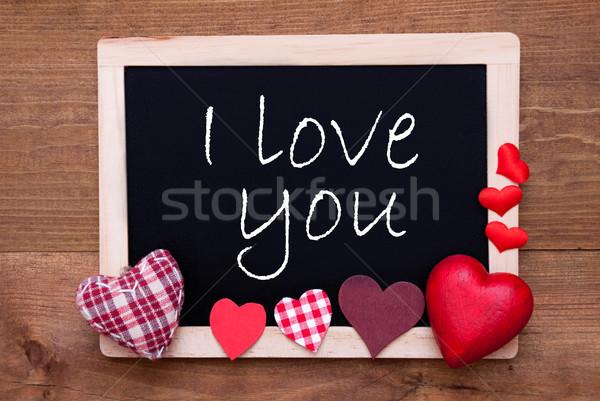 Blackboard Textiel Harten Tekst Liefde Engels