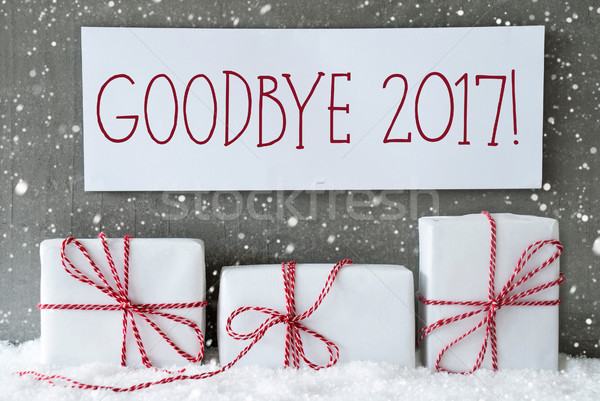 Stock photo: White Gift With Snowflakes, Text Goodbye 2017