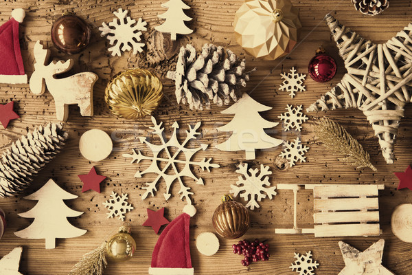 Rustic Christmas Flat Lay, Instagram Filter Stock photo © Nelosa