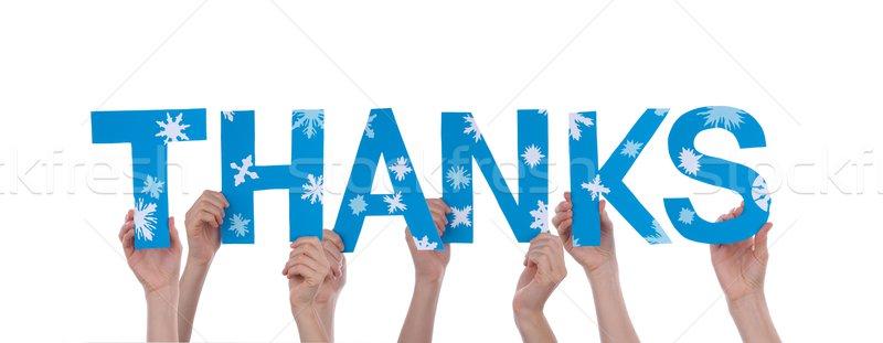 Personnes remerciements beaucoup mot bleu Photo stock © Nelosa