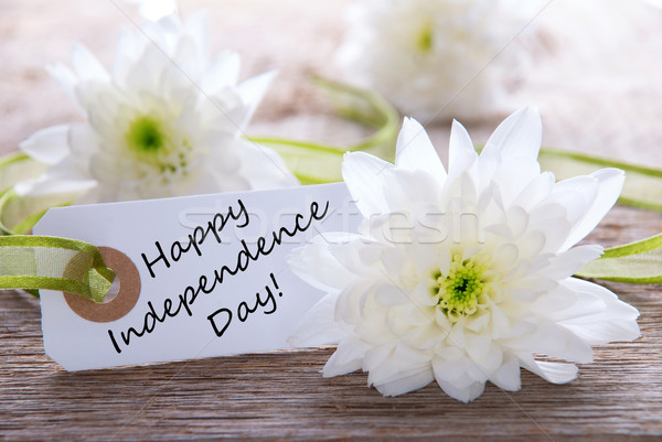 White Flowers with Happy Independence Day Stock photo © Nelosa