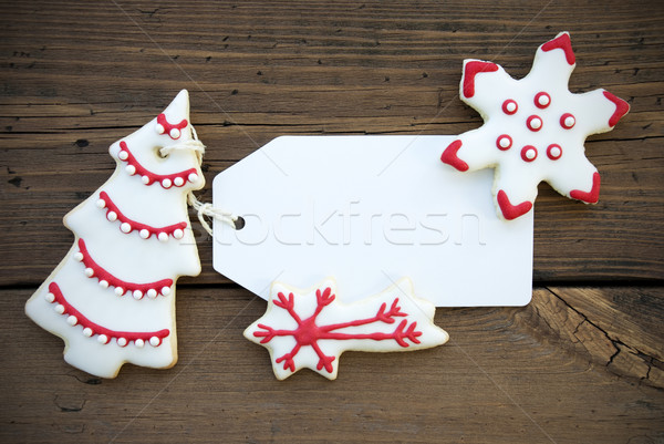 Empty Label with Red White Christmas Cookies Stock photo © Nelosa