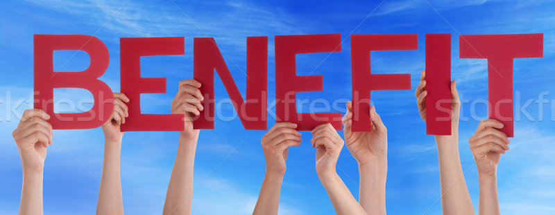 Many People Hands Holding Red Straight Word Benefit Blue Sky Stock photo © Nelosa