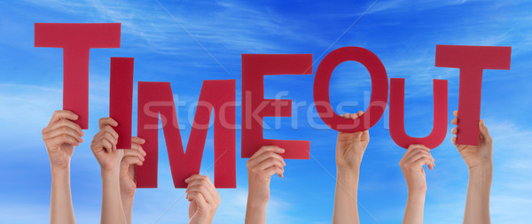 Many People Hands Holding Red Word Timeout Blue Sky Stock photo © Nelosa