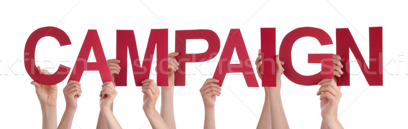 Many People Hands Holding Red Straight Word Campaign Stock photo © Nelosa