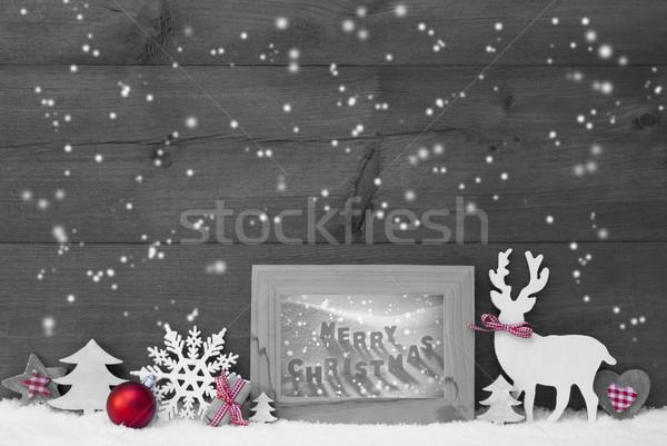 Gris Flocons De Neige Cadre Joyeux Noël Blanc