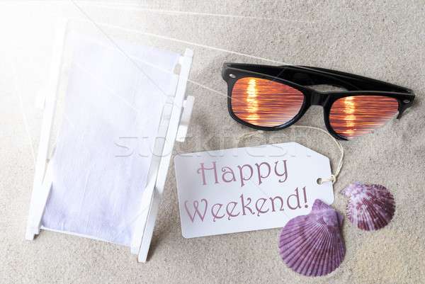 Sunny Flat Lay Summer Label Happy Weekend Stock photo © Nelosa