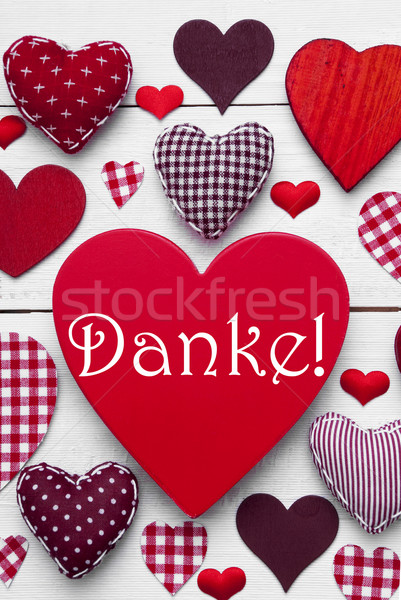 Vertical Card With Green Heart Texture, Danke Means Thank You Stock photo © Nelosa