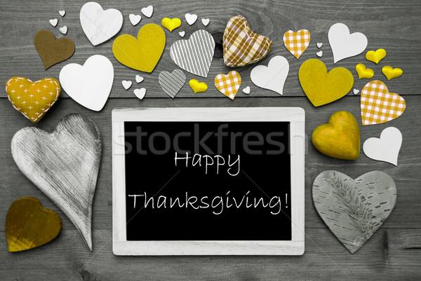 Chalkbord With Many Yellow Hearts, Happy Thanksgiving Stock photo © Nelosa
