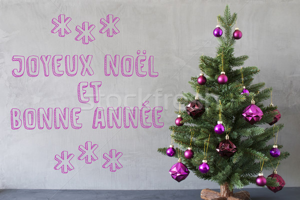 Christmas Tree, Cement Wall, Bonnee Annee Means New Year Stock photo © Nelosa
