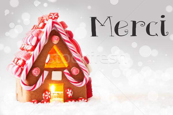 Zencefilli çörek ev gümüş teşekkür ederim manzara Noel Stok fotoğraf © Nelosa