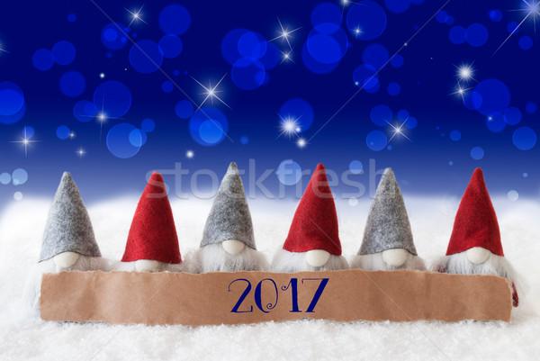 Blauw bokeh sterren tekst label gelukkig nieuwjaar Stockfoto © Nelosa