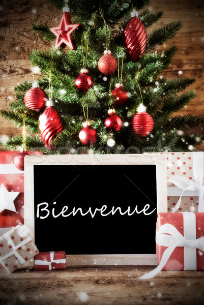 Christmas Tree With Bienvenue Means Welcome Stock photo © Nelosa