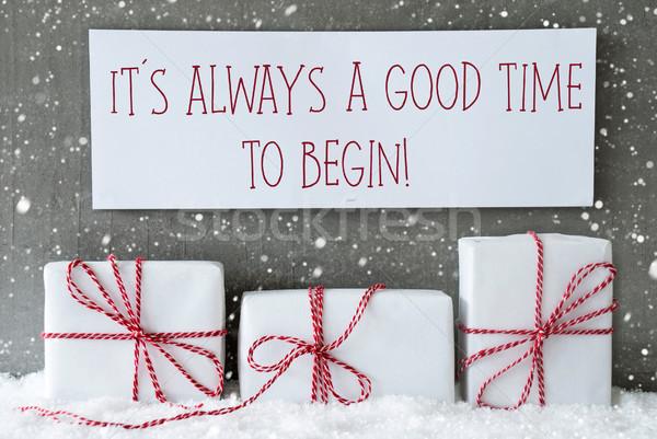 White Gift With Snowflakes, Quote Always Good Time Begin Stock photo © Nelosa