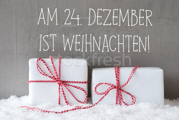 Two Gifts With Snow, Weihnachten Means Christmas Stock photo © Nelosa