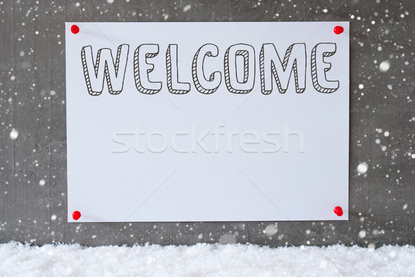 Etiqueta cemento pared texto bienvenida Foto stock © Nelosa