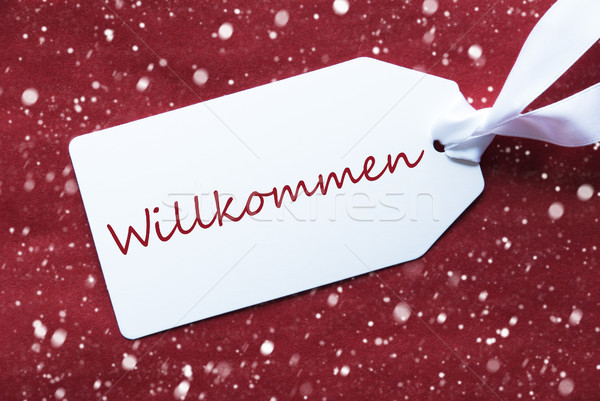 Label On Red Background, Snowflakes, Willkommen Means Welcome Stock photo © Nelosa