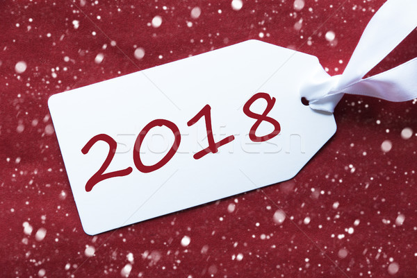 One Label On Red Background, Snowflakes, Text 2018 Stock photo © Nelosa