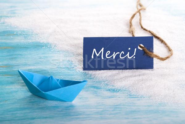 Blue Tag with Merci Stock photo © Nelosa