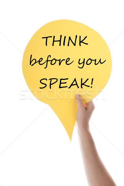 Citromsárga szöveglufi gondolkodik beszéd egy kéz Stock fotó © Nelosa