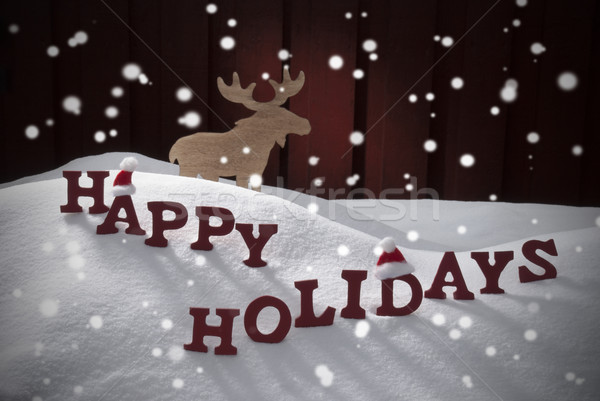 Stock fotó: Boldog · ünnepek · hópelyhek · hó · jávorszarvas · mikulás
