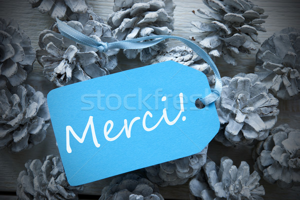 Light Blue Label On Fir Cones Merci Means Thank You Stock photo © Nelosa