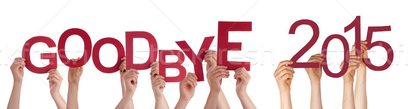 Mensen handen Rood woord vaarwel Stockfoto © Nelosa