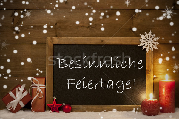 Stock photo: Card, Blackboard,Snowflake, Besinnliche Feiertage Mean Christmas