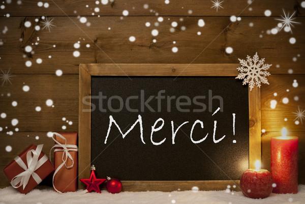 Stock photo: Christmas Card, Blackboard, Snowflakes, Merci Mean Thank You