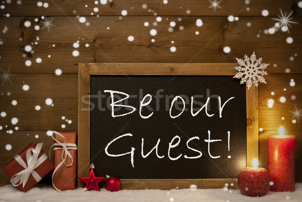 Christmas Card, Blackboard, Snowflakes, Candles, Be Our Guest Stock photo © Nelosa