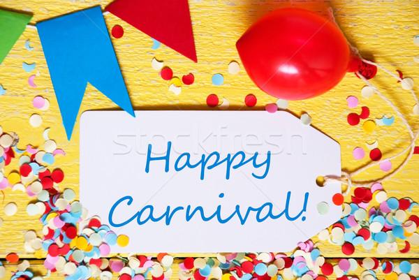 Festa etiqueta balão texto feliz carnaval Foto stock © Nelosa