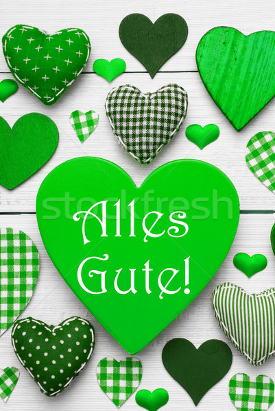Vertical Card With Green Hearts, Alles Gute Means Best Wishes Stock photo © Nelosa