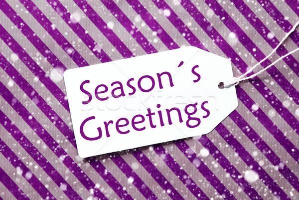 Címke lila csomagolópapír hópelyhek szöveg évszakok Stock fotó © Nelosa