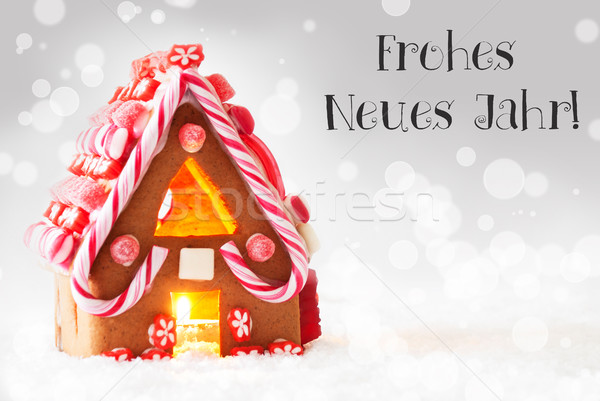 Gingerbread House, Silver Background, Neues Jahr Means New Year Stock photo © Nelosa